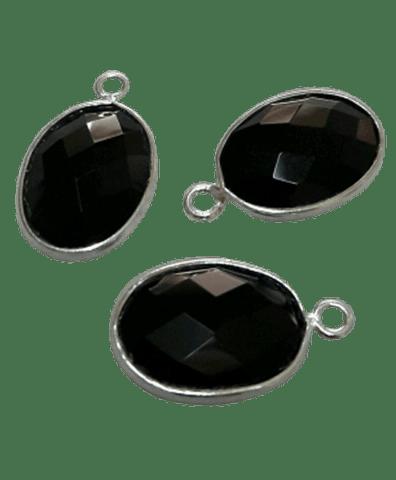 Sterling Silver Black Onyx Oval CHARM
