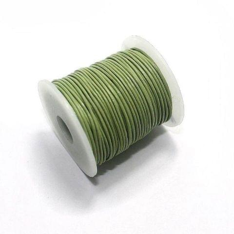Jewellery Making Leather Cord 1mm Parrot Green-25 Mtr