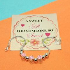 Pink Spade Heart Charms Sterling Silver Bracelets