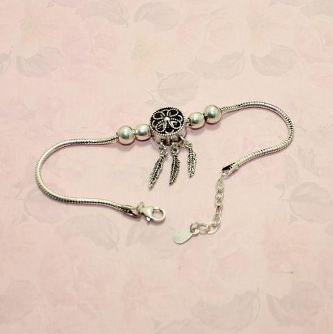 Leaf Charm Sterling silver Oxidized Finish Bracelet