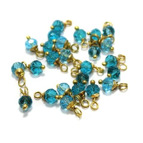 100 Pcs Turquoise Crystal Faceted Loreal Glass Beads 6mm