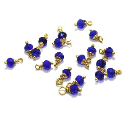 100 Pcs Blue Crystal Faceted Loreal Glass Beads 6mm
