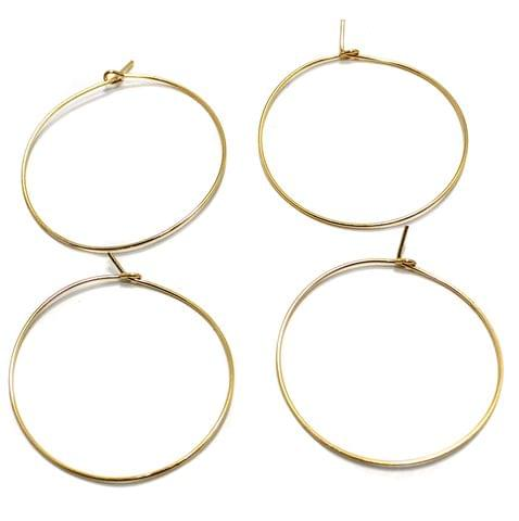 25 Pair Earring Hoops Golden 1.25 Inches