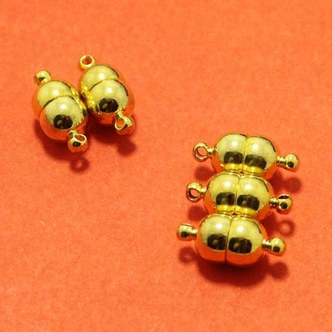 Golden 5 Pcs Magnetic Clasps , Size 10x7mm