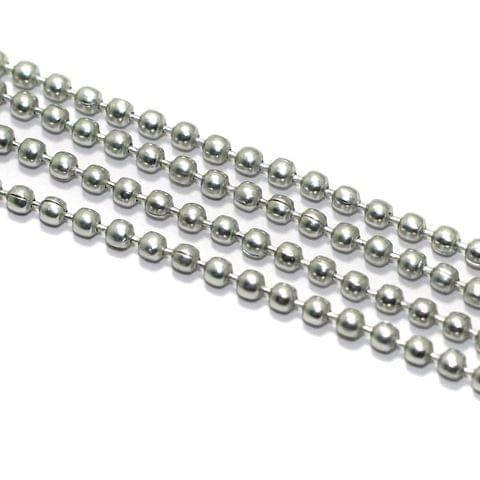 5 Mtrs, 2mm Aluminium Ball Chain Silver