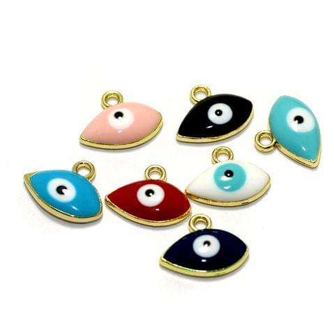 7 Pcs Meenakari Brass Evil Eye Charms, 7x13mm