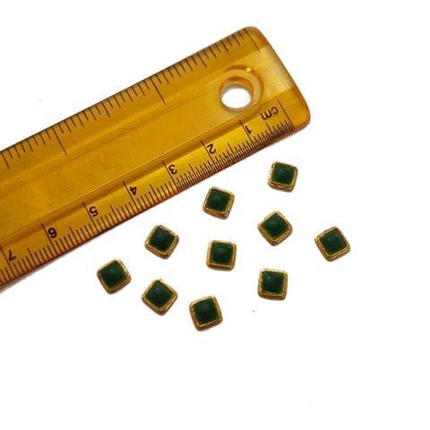 6mm, 20 pcs, Green Square Glass Stones Cabochons