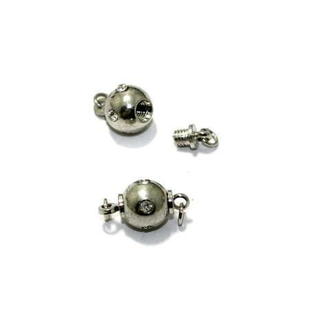 Silver 5 Pcs AD Stone Insert Screw Lock Magnetic Clasps , Size 8mm