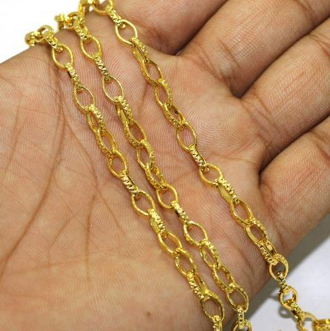 1 Mtr Gold Finish Metal Chain, Link size 5x3mm