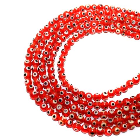 5 strings Red Glass Evil Eye Round Beads 5mm
