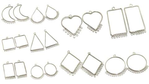 10 Pairs Combo Brass Earrings Frame Components Silver