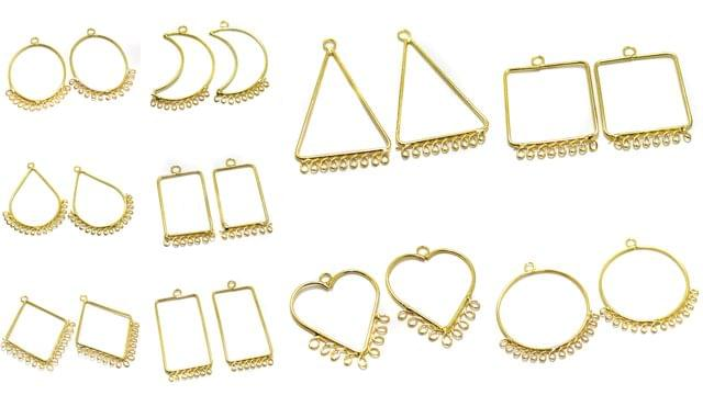 10 Pairs Combo Brass Earrings Frame Components Golden