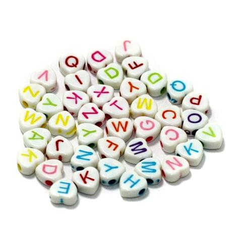 500 Pcs Acrylic Heart A to Z Alphabet Letter Beads Multicolor 7mm
