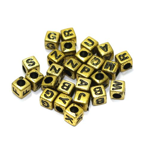 500 Pcs Acrylic Square A to Z Alphabet Letter Beads Gold 6mm