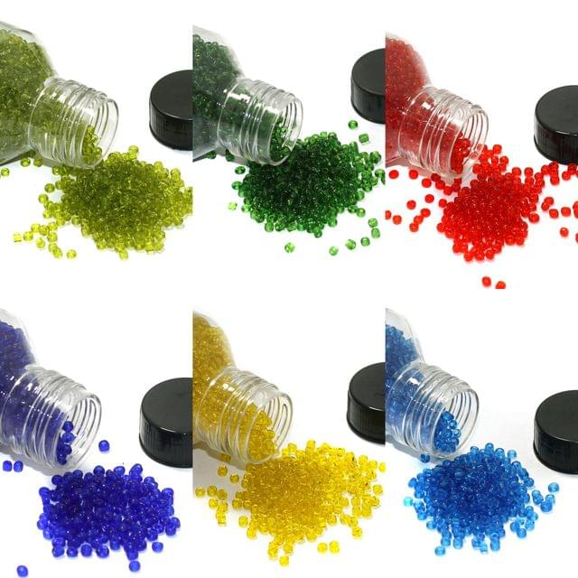 6 Colors Trans Seed Beads Bottles Combo Multicolor, Size 11/0