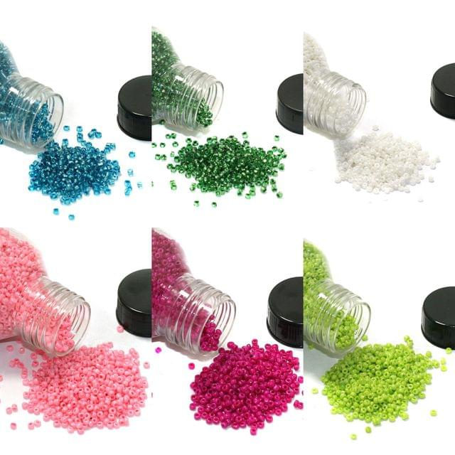 6 Colors Seed Beads Bottles Combo Multicolor, Size 11/0