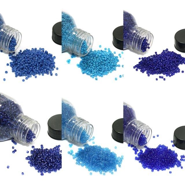 6 Colors Seed Beads Bottles Combo Blue, Size 11/0
