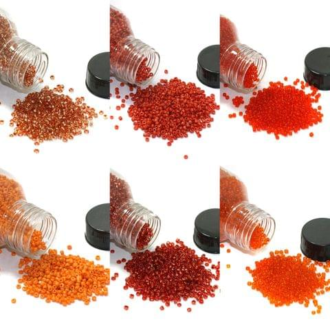 6 Colors Seed Beads Bottles Combo Red and Orange, Size 11/0