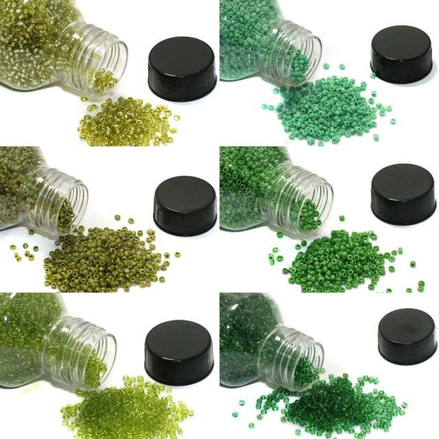 6 Colors Seed Beads Bottles Combo Green, Size 11/0