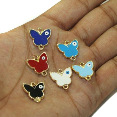 6 Pcs Evil Eye Butterfly Connectors Charms Assorted Color 16x16mm