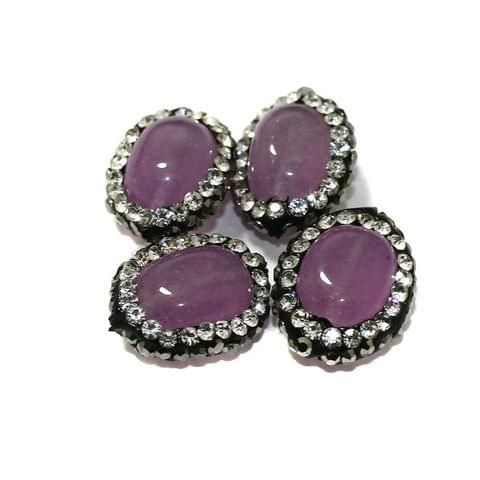 4 Pcs Gemstone CZ Beads Purple Oval 16x12mm