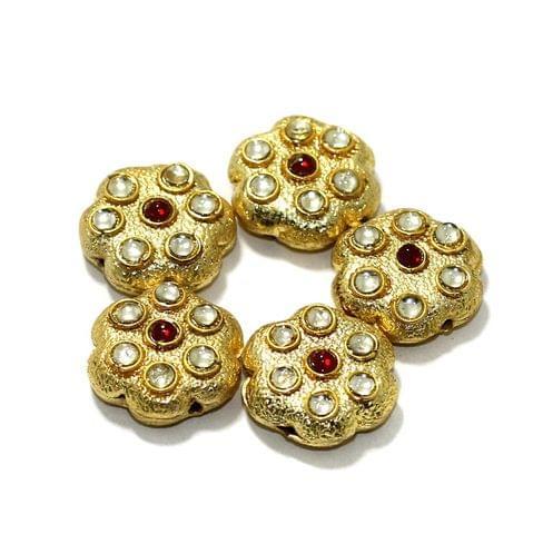 10 Pcs German Silver Kundan Work Beads Golden16mm
