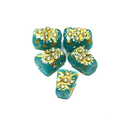 5 Pcs Handpainted Kundan Work Tumbled Beads Turquoise 14x10mm