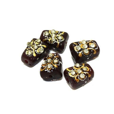 5 Pcs Handpainted Kundan Work Tumbled Beads Maroon 14x10mm