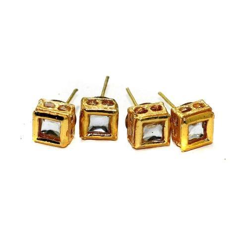 5 Pairs Kundan Earring Studs Square 7x7mm