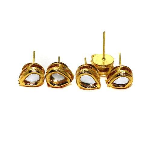 5 Pairs Kundan Earring Studs Drop 10x7mm
