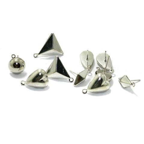 5 Pairs Assorted Shaped Post Stud Earring Findings With Closed Loop