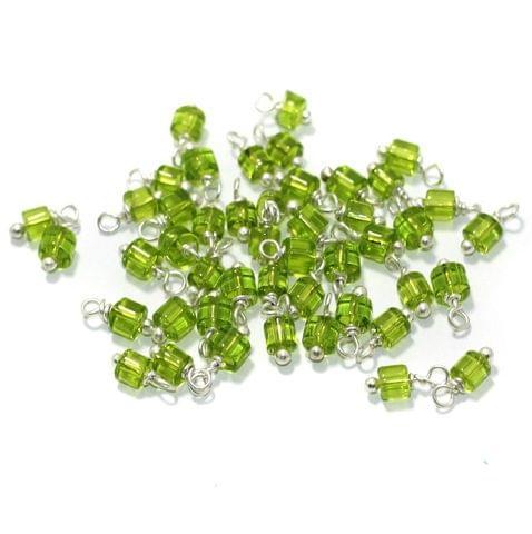100 Pcs, 4mm Glass Loreal Beads Peridot Silver Plated