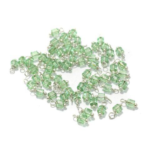 100 Pcs, 4mm Glass Loreal Beads Aqua Green Silver Plated
