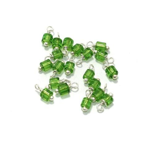 100 Pcs, 4mm Glass Loreal Beads Light Green Silver Plated