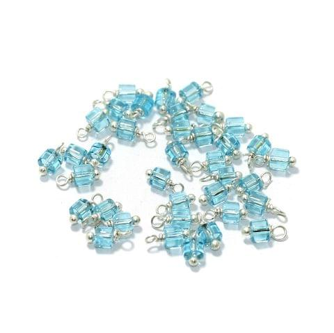 100 Pcs, 4mm Glass Loreal Beads Turquoise Silver Plated