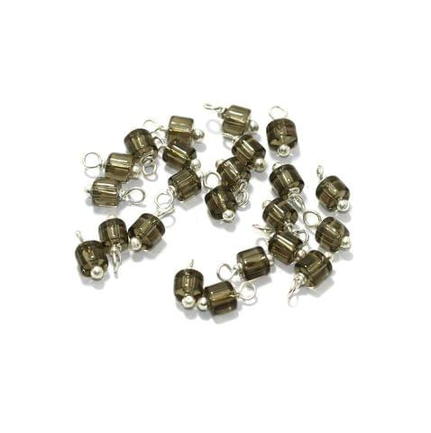 100 Pcs, 4mm Glass Loreal Beads Grey Silver Plated