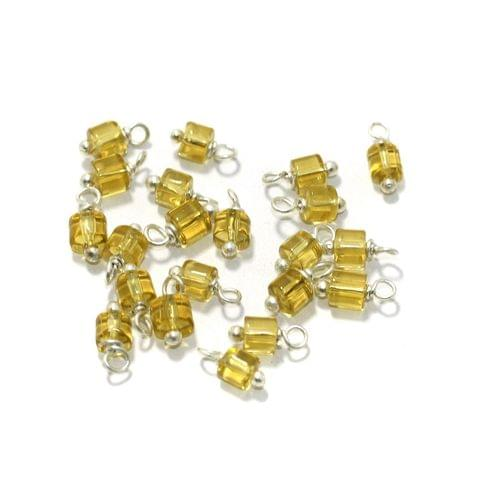 100 Pcs, 4mm Glass Loreal Beads Yellow Silver Plated