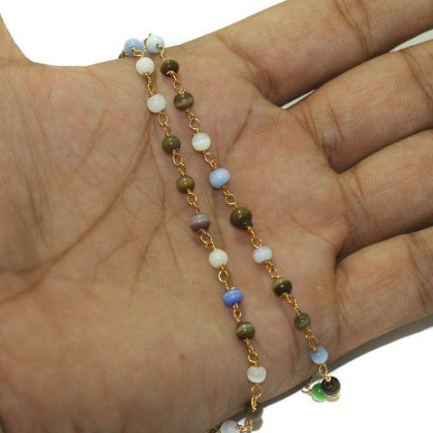 5 Mtrs Glass Cats Eye Beaded Chain Round 4mm