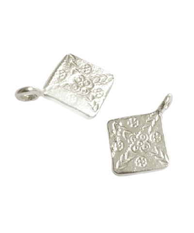 Sterling Silver Diamond Shape Pattern Charm