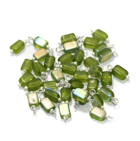 165 Pcs, 7mm Glass Loreal Beads Green Silver Plated