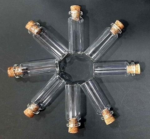 8pcs Mini Wish Bottle Tiny Clear Empty with Cork Bottle (6cm x 2cm)