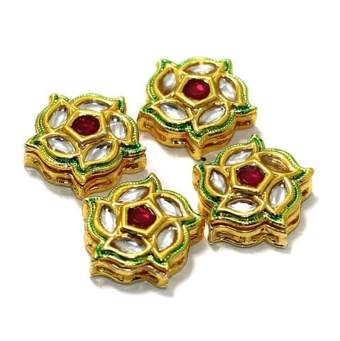 4 Pcs Kundan Spacer Beads 20mm
