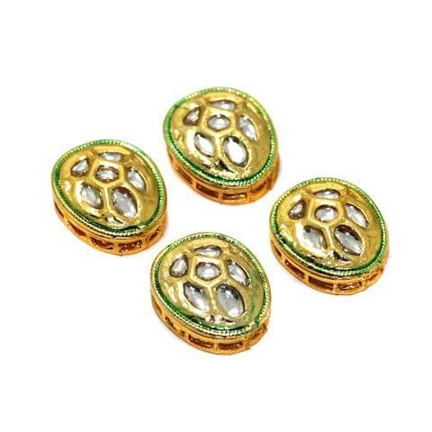 4 Pcs Kundan Spacer Beads 20x16mm