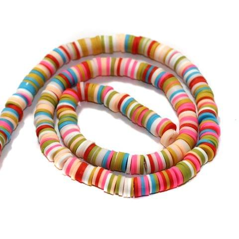 Multicolored Polymer Clay Fimo Ring Beads 1 String, 6mm