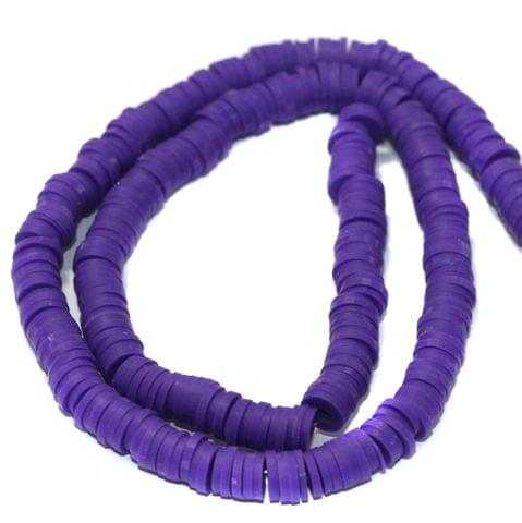 Purple Polymer Clay Fimo Ring Beads 1 String, 6mm