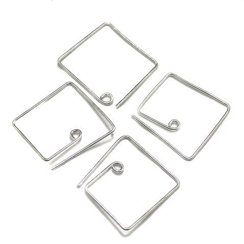 2 Pairs Brass Earring Components Silver 25x25mm