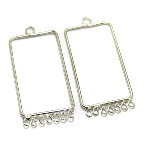 2 Pairs Brass Earrings Components Rectangle 1.75 Inch