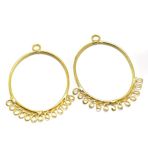 2 Pairs Brass Earrings Components Oval Golden 1.50 Inch