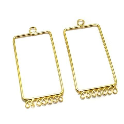 2 Pairs Brass Earrings Components Rectangle Golden 1.75 Inch