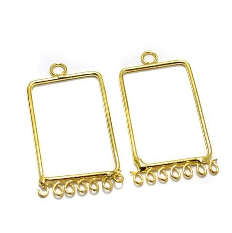 2 Pairs Brass Earrings Components Rectangle Golden 1.5 Inch